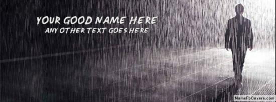Alone Boy In Rain Facebook Cover Photo With Name