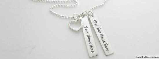 Amazing Silver Heart Necklace For Couple Facebook Cover Photo With Name