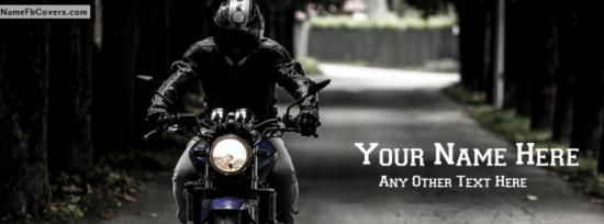 Bike rider Guy Facebook Cover Photo With Name