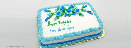 Birthday Green Blue Cake Facebook Cover Photo With Name
