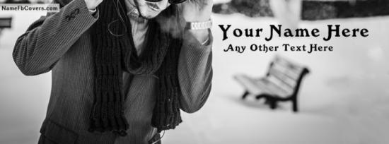 Black And White Dashing Boy Facebook Cover Photo With Name