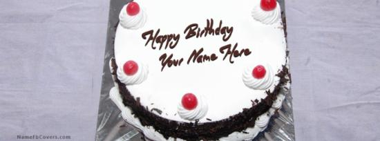 Black Forest Birthday Cake Facebook Cover Photo With Name