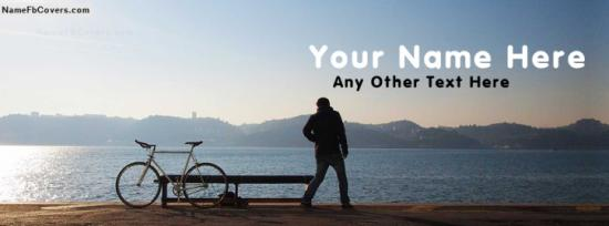 Boy With Bicycle Facebook Cover Photo With Name
