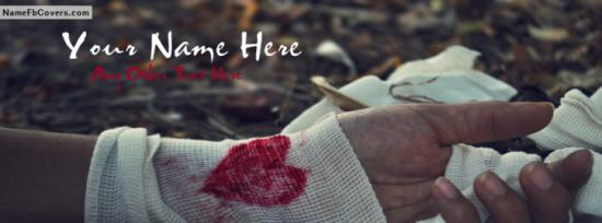 Broken Heart Hand Dressing Facebook Cover Photo With Name