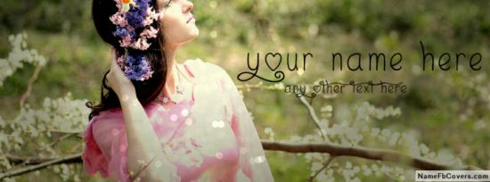 Cool Flowers Head Girl Facebook Cover Photo With Name