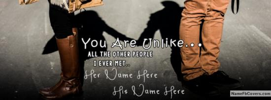 Couple Holding Eachother Quote Facebook Cover Photo With Name