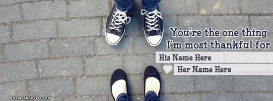 Couple Shoes Facebook Cover Photo With Name