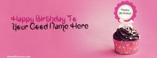 Cupcake Birthday Facebook Cover Photo With Name