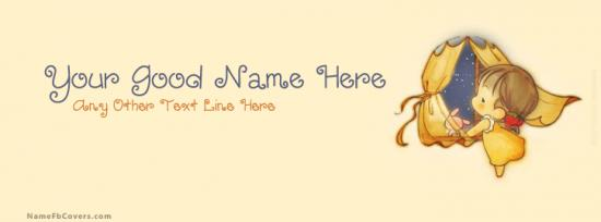 Cute Dreamy Girl Facebook Cover Photo With Name