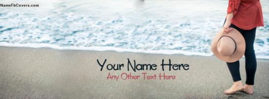 Cute Hat Girl On Beach Facebook Cover Photo With Name