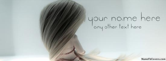 Cute Long Hair Doll Facebook Cover Photo With Name