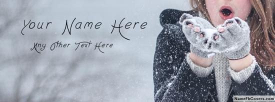 Cute Winter Girl Facebook Cover Photo With Name