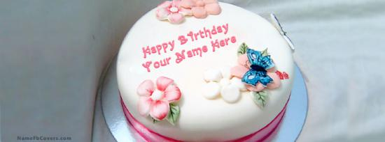 Girl Birthday Cake Facebook Cover Photo With Name