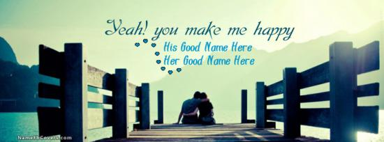 Happy Romantic Couple Facebook Cover Photo With Name