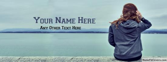 Hidden Face Girl Waiting Facebook Cover Photo With Name