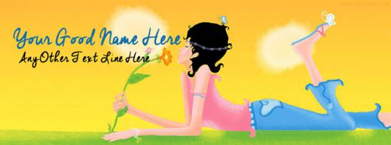 Abstract Morning Girl Facebook Cover Photo With Name
