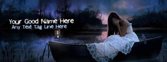 Alone girl on boat Facebook Cover Photo With Name
