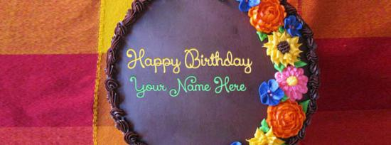 Awesome Flower Birthday Cake Facebook Cover Photo With Name