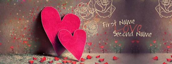 Awesome Love Hearts Facebook Cover Photo With Name