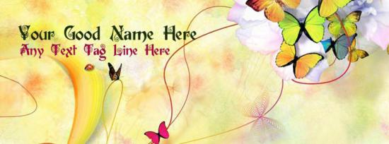 Beautiful Butterflies Facebook Cover Photo With Name