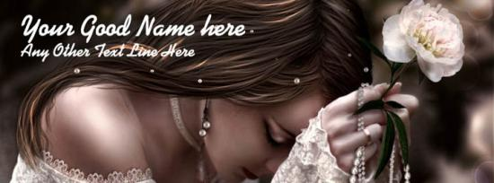 Beautiful Girl with White Flower Facebook Cover Photo With Name