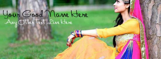 Beautiful Punjabi Girl Facebook Cover Photo With Name