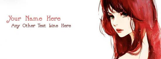 Beautiful Red Hair Girl Facebook Cover Photo With Name