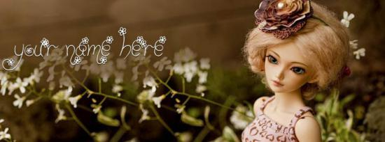 Beautifully Dressed Doll Facebook Cover Photo With Name