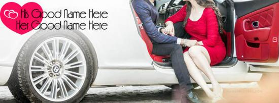 Best Couple Love Car Facebook Cover Photo With Name
