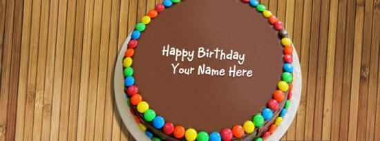 Birthday Chocolate Bunties Cake Facebook Cover Photo With Name