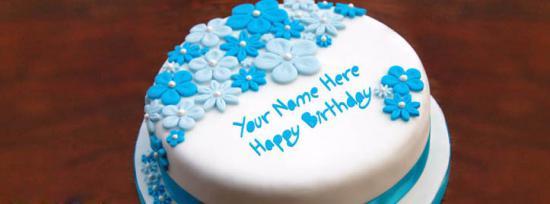 Birthday Ice Cream Cake Facebook Cover Photo With Name