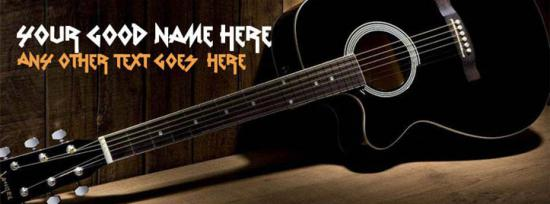 Black Guitar Facebook Cover Photo With Name