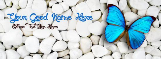 Blue Butterfly Facebook Cover Photo With Name
