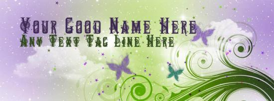 Butterflies and shining stars Facebook Cover Photo With Name