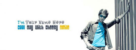 Cool Guy with Cheesy Smile Facebook Cover Photo With Name