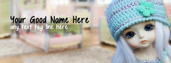 Cute Little Doll Facebook Cover Photo With Name