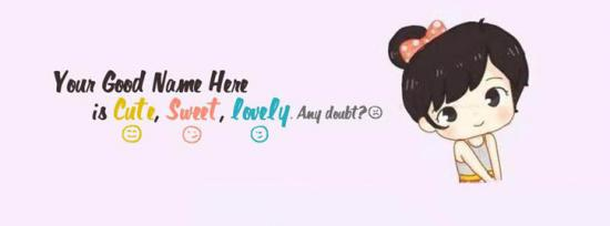 Cute Sweet Lovely Girl Facebook Cover Photo With Name