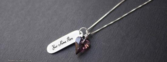 Diamond Heart Necklace Facebook Cover Photo With Name