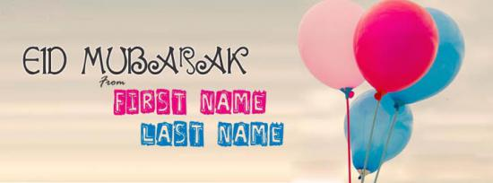 Eid ul Fitr Greetings Facebook Cover Photo With Name