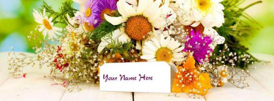 Flower Bouquet Facebook Cover Photo With Name