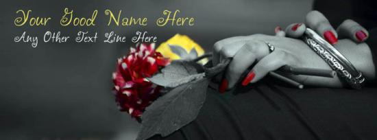 Flowers in Girl Hands Facebook Cover Photo With Name