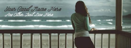 Girl Enjoying Sea View Facebook Cover Photo With Name