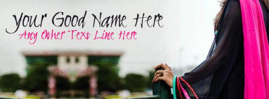 Girl in Black and Pink Facebook Cover Photo With Name