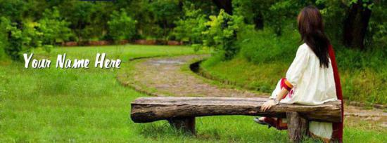 Girl Sitting Alone Facebook Cover Photo With Name
