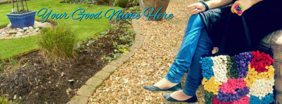 Girl Sitting in Garden Facebook Cover Photo With Name