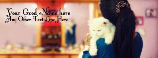 Girl with Cat Facebook Cover Photo With Name