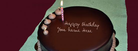 Happy Birthday Chocolate Cake Facebook Cover Photo With Name