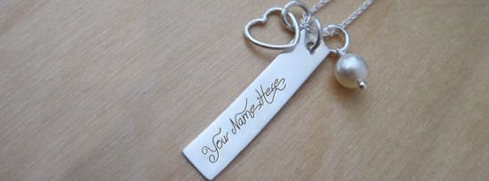 Heart Charm Rectangle Necklace Facebook Cover Photo With Name