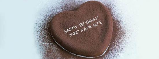 Heart Chocolate Birthday Cake Facebook Cover Photo With Name