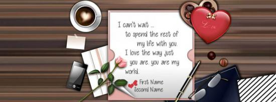 I cant wait to spend rest of life with you Facebook Cover Photo With Name